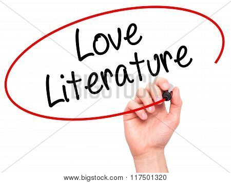 Man Hand Writing Love Literature With Black Marker On Visual Screen.