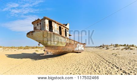Panorama. Old Ship In The Aral Desert, Rear View