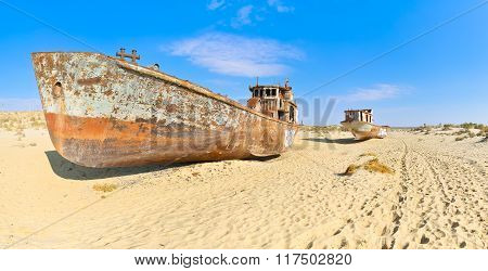 Panorama. Two Old Ship In The Aral Desert