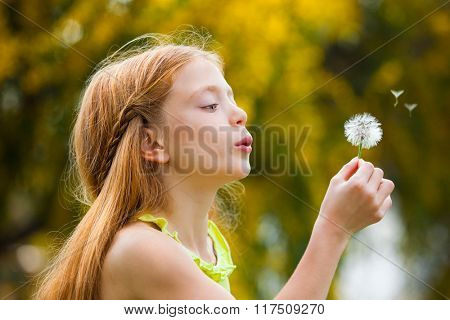 wishes,  happy child blowing dandelion in summer.