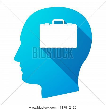 Long Shadow Male Head Icon With  A Breiefcase