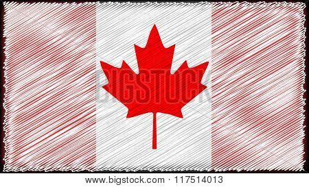 vector  High detailed flag of Canada red white mage