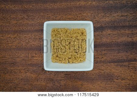 Brown Sugar In White Bowl