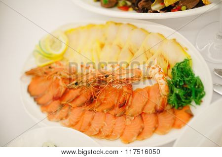 Plate Of Red And White Fish Salmon Fillet