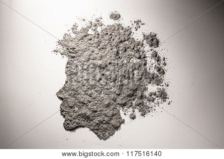 Child Head Silhouette With Scattered Hair Made Of Ash