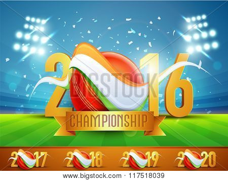 Glossy golden text 2016 with Red Ball and Indian National Flag color waves on stadium lights background for Cricket Championship concept.