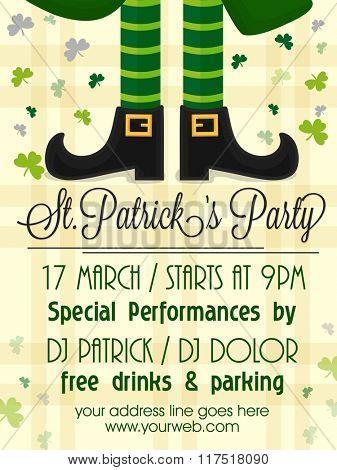Creative Pamphlet, Banner or Flyer design with illustration of Leprechaun legs for St. Patrick's Day Party celebration.