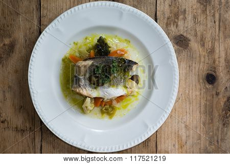 Sea Bass With Mixed Seasonal Vegetables From Above.