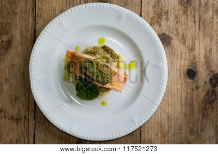 Salmon Fillet, Pesto And Crushed Potato From Above