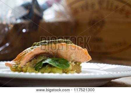 Salmon Fillet, Pesto And Crushed Potato .