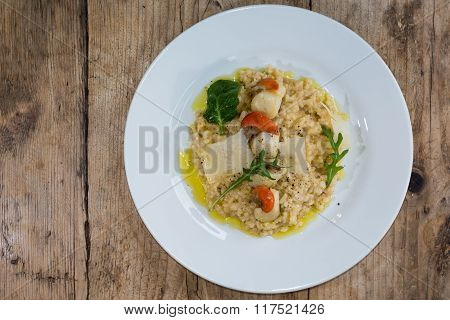 Scallop And Langoustine Risotto From Above.