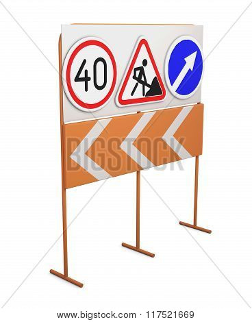 Road signs on a rack isolated on white background. 3d rendering