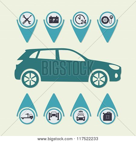 Car service Infographics. Auto service and repair icons. Vector illustration.