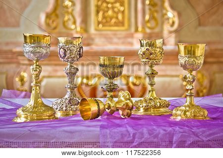 Golden Holy Grails On Church Altar View