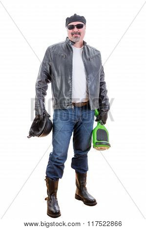 Happy Middle Aged Man With Hoverboard