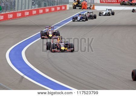 Daniil Kvyat Red Bull Racing F1 Team leads Daniel Ricciardo Red Bull Racing Formula 1 Team