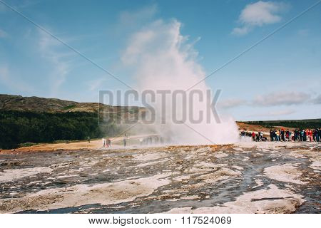 Geyser erupting, golden circle near Reykjavik in Iceland