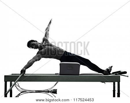 man pilates reformer exercises fitness isolated poster