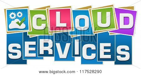 Cloud Services Colorful Squares Text Bottom