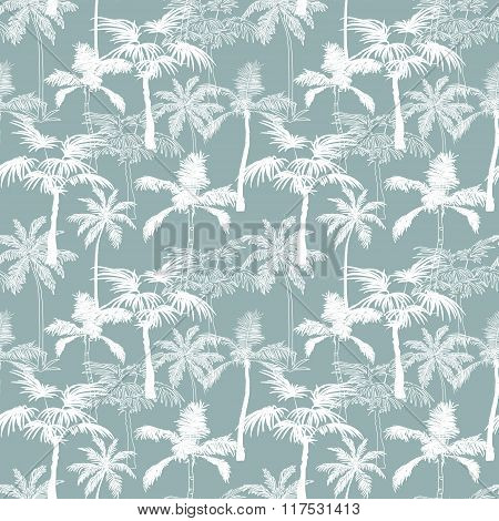 Vector Palm Trees California Grey Texture Seamless Pattern Surface Design With Exotic, Decorative, H