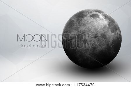 Moon - High resolution 3D images presents planets of the solar system. This image elements furnished