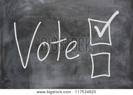 Voting boxes displayed on a chalk board