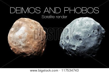 Deimos and Phobos - High resolution 3D images presents planets of the solar system. This image eleme