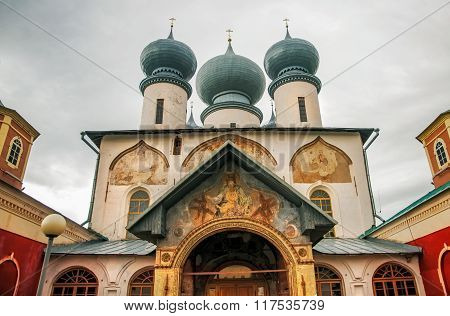 Architectural Detail Of Orthodox Cathedral Of The Dormition In Tikhvin Monastery