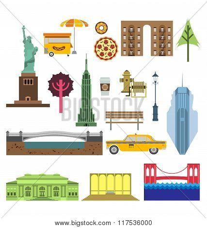 Vector New York City Street Icon Set