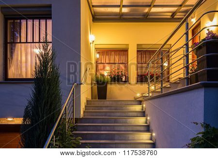 Outside Stairs With Metal Handrail