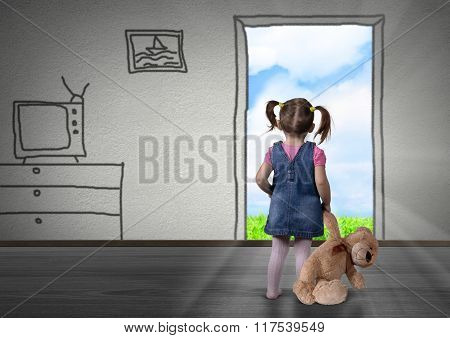 Child Girl In Front Of The Drawn Door, Back View. Way Out Concept