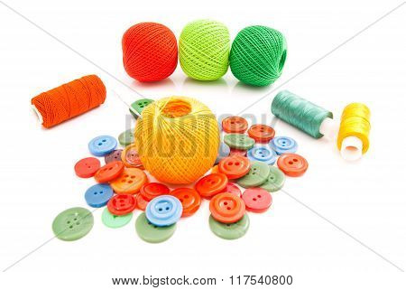 Needle, Buttons And Tangles Of Thread