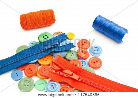 Buttons, Spools Of Thread And Zippers