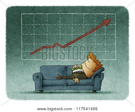 Businessman Sleeping On Sofa Against Of Successful Graph