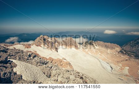 Summit of Fisht Mountain Landscape blue sky Summer Travel scenic aerial view poster