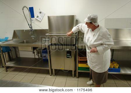 Chef Operating Professional Dishwasher