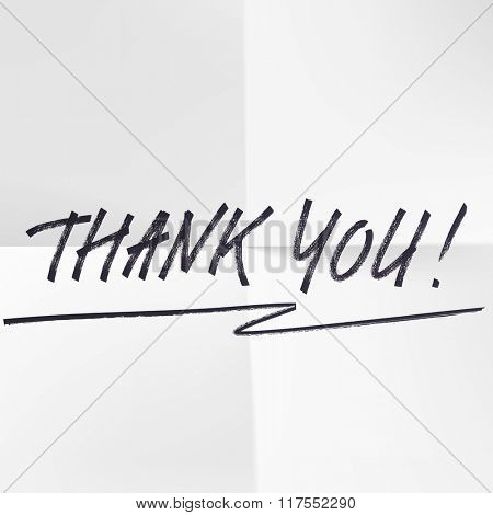 Thank You vector hand written pen signature lettering on white background. Thanksgiving gratitude greeting card. Handmade concept.