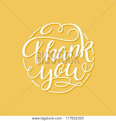 Thank You vector hand written calligraphic flourish lettering on orange background. Thanksgiving gratitude greeting card. Handmade concept.