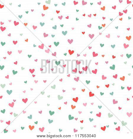 Romantic pink and blue heart pattern. Vector illustration