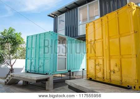 Colorful Metal Bulding Made From Shipping Containers