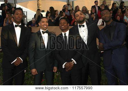 LOS ANGELES - JAN 30: Corey Hawkins, Neil Brown Jr., Jason Mitchell, O'Shea Jackson Jr., Aldis Hodge - 22nd Screen Actors Guild Awards at the Shrine Auditorium on January 30, 2016 in Los Angeles, CA