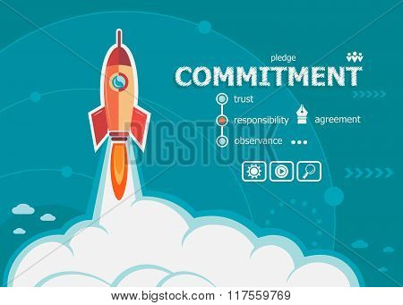 Commitment Design And Concept Background With Rocket.