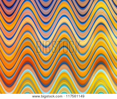 Orange, yellow and blue digital waves.