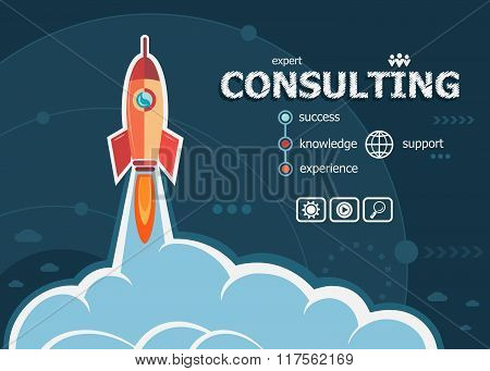 Consulting Design And Concept Background With Rocket.