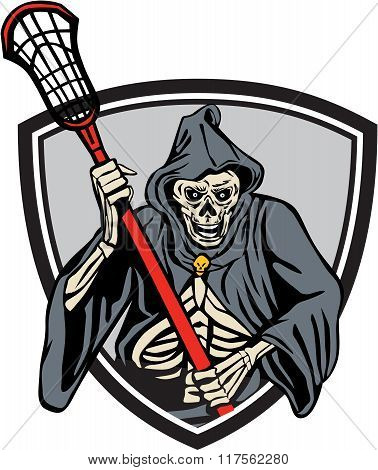 Grim Reaper Lacrosse Player Crosse Stick Retro
