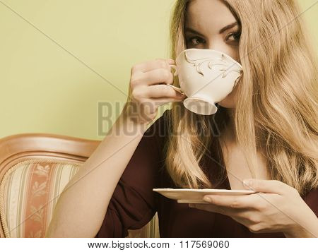 Woman Drinking Hot Coffee Beverage. Caffeine.