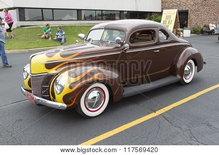 1940 Ford Coupe Brown With Flames
