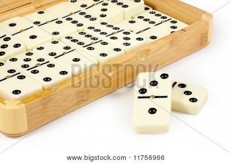 Opened Bamboo Box With Domino
