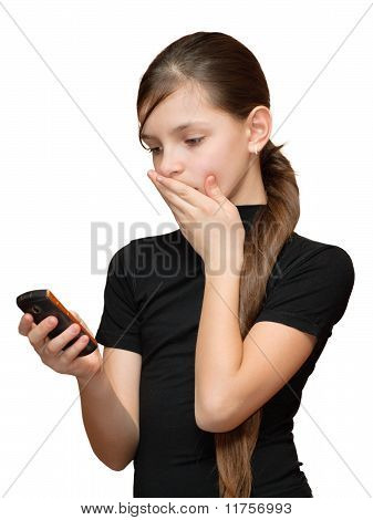 Girl Looking At Phone In Hand