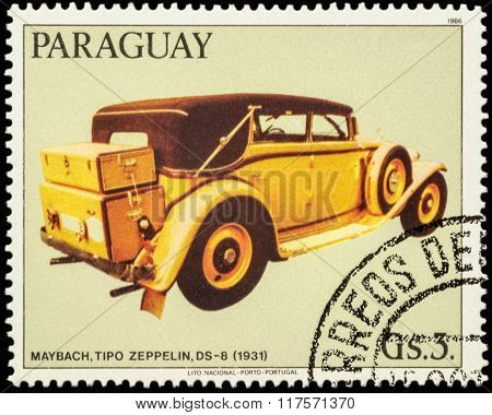 Old Car Maybach Zeppelin, Ds-8 (1931) On Postage Stamp